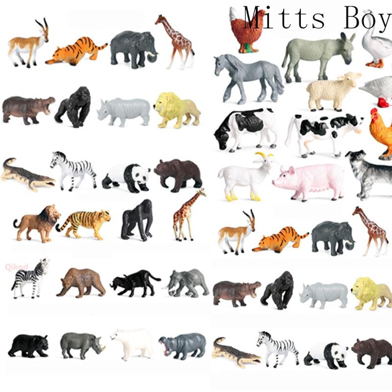Modelo de Granja de animales salvajes para niños, juguete de simulación de Mini Animal, león, hipopótamo, jirafa, Grizzly, de PVC, 12 Uds.