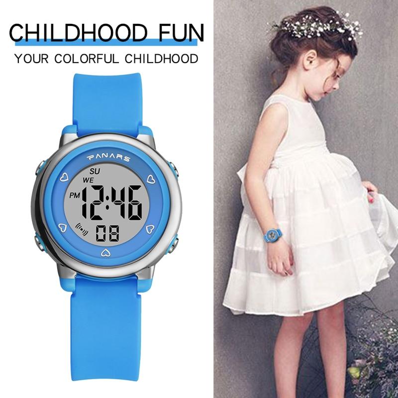 Девочки часы дети SYNOKE бренд высокое качество 50M водонепроницаемый силикон ремешок розовый наручные часы дети% 27s спорт часы студент часы