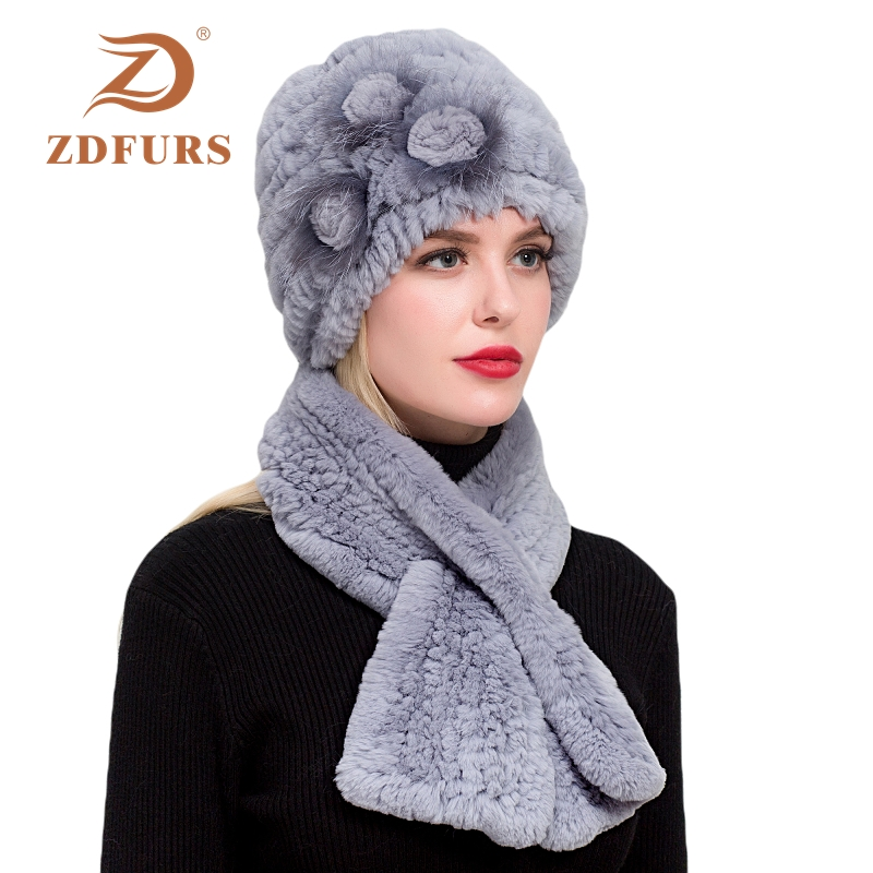 ZDFURS *Real Rex Rabbit Fur Three Flower Hat With Scarf One Sets Women Warm Beanies Scarf Lady Hats Scarf One Set