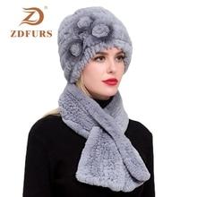 ZDFURS *Real Rex Rabbit Fur three flower Hat with Scarf one Sets Women Warm Beanies Lady Hats set
