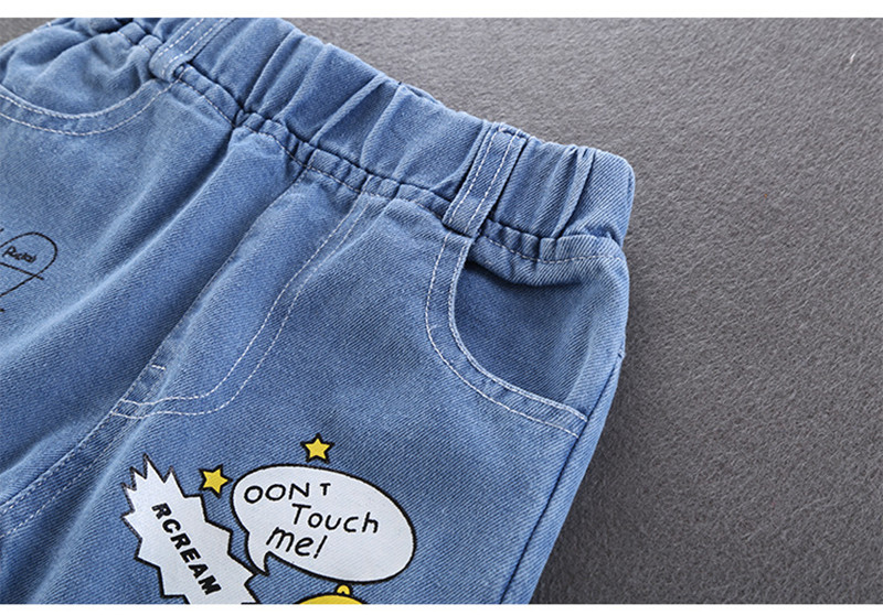 2021 Spring Boys Pants Print Pattern Trousers Girls Cartoon Ripped Pant Children Clothing Kids Clothes Baby Girl Birthday Jeans 6