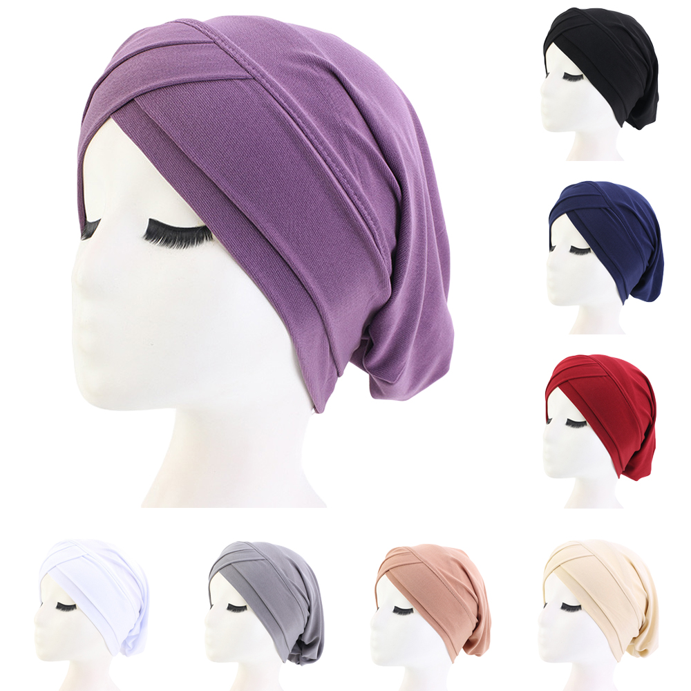 Women Hair Loss Scarf Elastic Lady Cancer Chemo Cap Muslim Turban Hat Arab Head Wrap Cover Beanie Headwear Skullies Solid Color