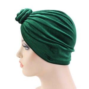 Image 4 - הודו נשים קטיפה טורבן כובע חיג אב טוויסט קשר הכימותרפיה כובע למתוח כפת ראש גלישת שיער אובדן כובעים מוסלמיים כיסוי מצנפת מצנפת