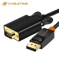 CABLETIME 2019 Новый DisplayPort To VGA кабель DP To VGA конвертер Displayport кабель Золотой для проектора ноутбука iMac HDTV C075