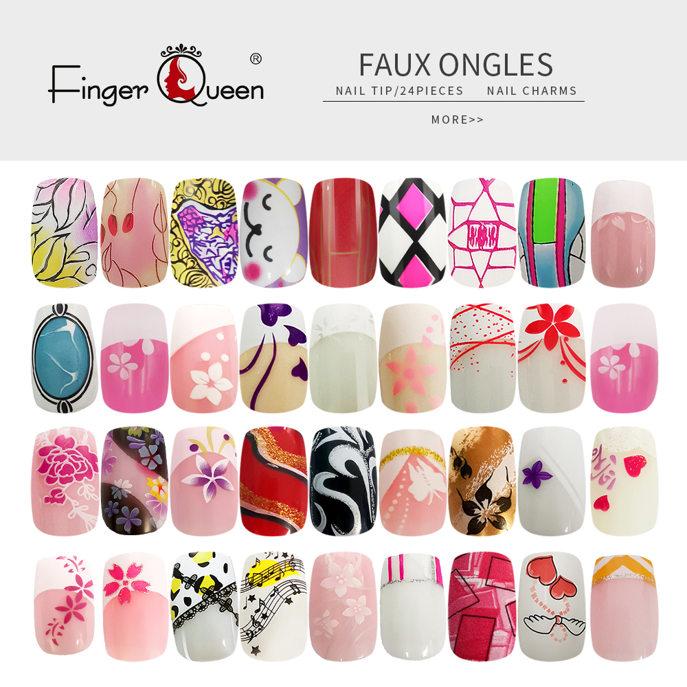 Fake Nail Art Design Sexy Cute Fashion Acrylic False Nail Faux Nail Tips Part 3 Of 96 Design Patterns 24pcs/set Full Cover