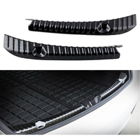 Lsrtw2017 for Tesla Model 3 Car Trunk Inside Sill Threshold Trims Interior Accessories Kit Chrome 2 Pcs 2018 2019 2020