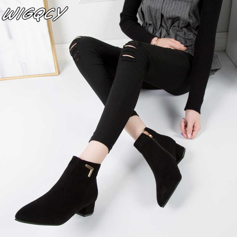 Trend yeni kadın moda pürüzsüz yüzey eğlence düz sivri burun Med topuklu ayak bileği çizmeler ayakkabı kadın çizme MUJER
