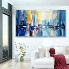 hand painted large Original oil Painting on Canvas blue seascape boat Wall art super size Modern Abstract Living Room decor art 2020 christmas gift modern paintings abstract gold oil painting 100% hand painted on canvas for living room decoration wall art