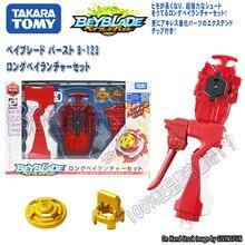 Original TAKARA TOMY Beyblade BURST B-123 Long Bey  Rotary Spinner Gyro Handmade Handle Right Launcher Set Kids Toys Present