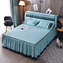 1 Pc Single Color Cotton Lace Bed Skirt Winter Fashion Home Textile Bedding Simple Nordic Style Home Bedspread Bed Sheet Set
