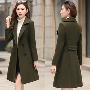 Image 4 - 모직 여성 자켓 코트 긴 슬림 블렌드 겉옷 2019 새로운 가을 겨울 착용 오버코트 여성 숙녀 모직 코트 자켓 의류