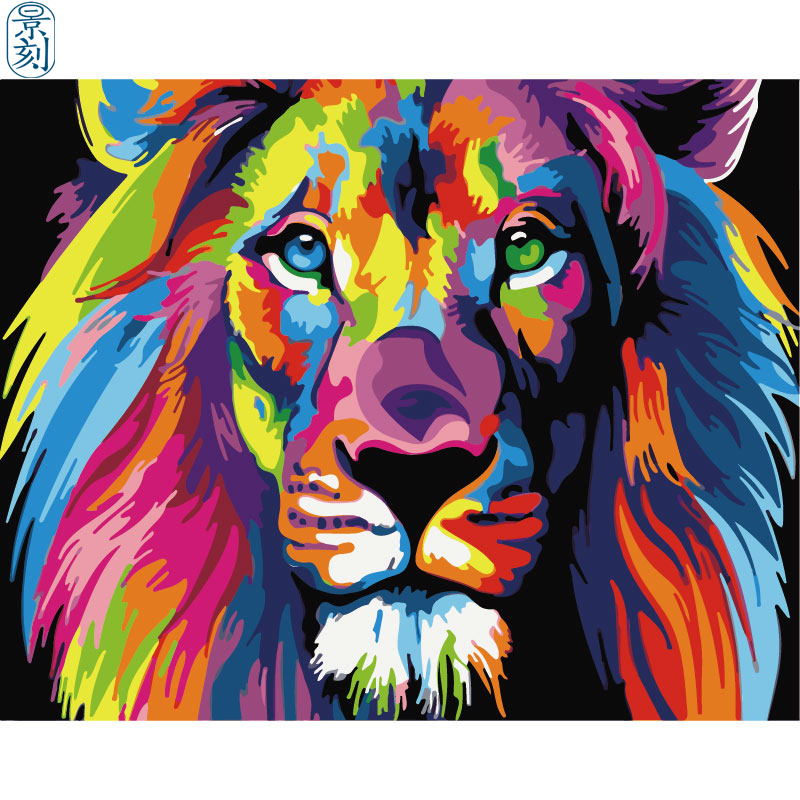 Lion Series .Hand Made Paint High Quality Canvas Beautiful Painting By Numbers Surprise Gift Great Accomplishment