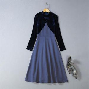 Image 5 - Victoria Beckham Dress 2020 High Quality Runway Stand Collar Long Sleeve Patchwork  Velvet Elegant Ladies Dresses NP0813W