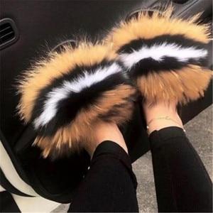 Women's Winter Fox Fur Slippers Non-slip Fluffy Plush Shoes Women's Fur Slides Female Fur Flip-flop Home Furry Fur Sandals 36-45