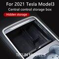 Центральный автомобильный подлокотник для хранения Коробка для 2021 Tesla модель 3 центральной консоли Флокирование Органайзер контейнеры авт...