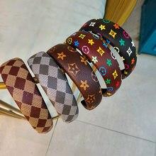 Bandeau de tempérament rétro en cuir, impression de couleur ins, accessoires de cheveux simples pour dames