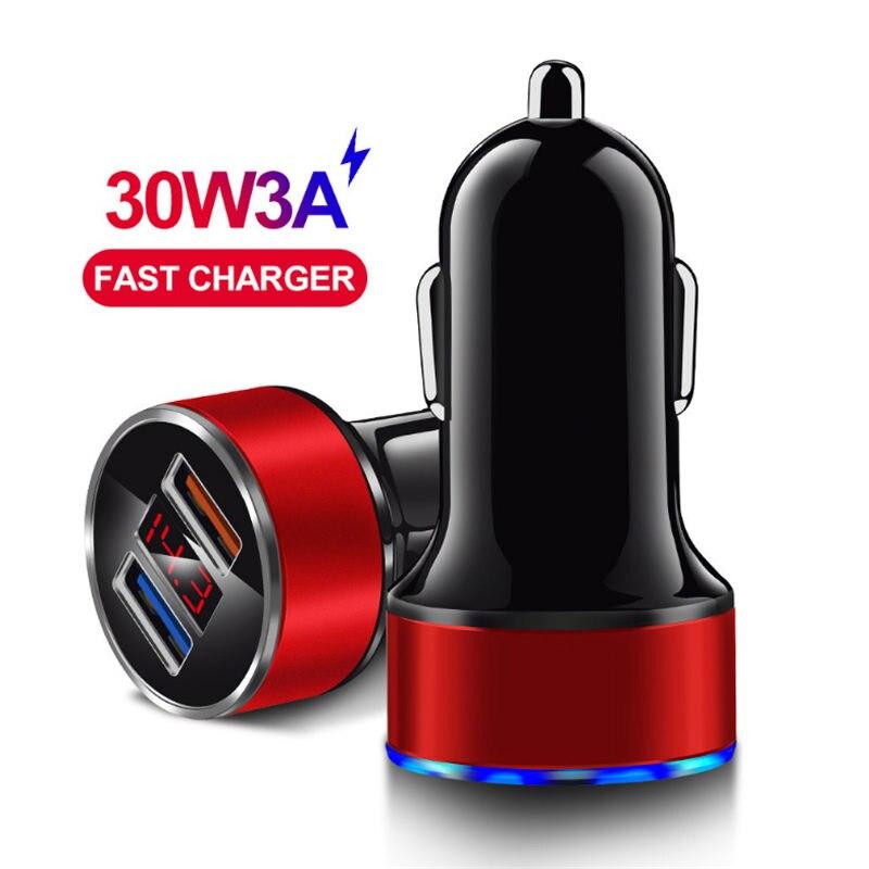 Мини-30w быстрое автомобильное зарядное устройство со светодиодным дисплеем и двойным портом USB, QC3.0 + 2.4A быстрое автомобильное зарядное устр...