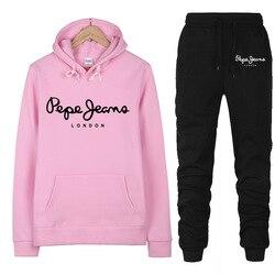 2020 Brand New 2 Piece Set Women Print Brand Hoodies Pant Clothing Set Warm Ladies Solid Tracksuit Top Pants Suit Female