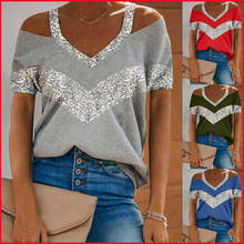 Sequins Patchwork Sexy Off Shoulder Tops Women Summer Halter V-neck Short Sleeve T Shirt Plus Size Tees Tshirts Womans Clothing