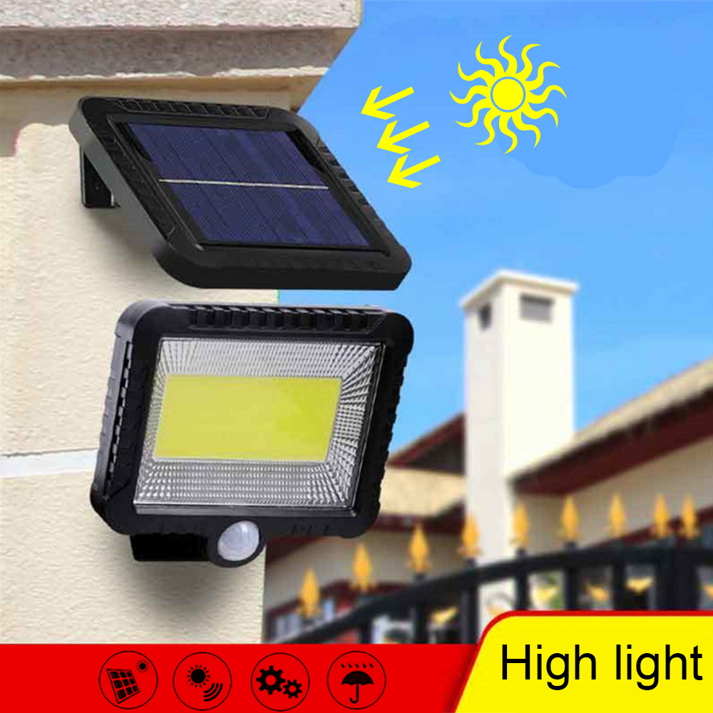 Solar Power LED Wall Lamp 56/100Leds PIR Motion Sensor Waterproof Spotlight Indoor Outdoor Floodlight Garden Light With 5M Cable