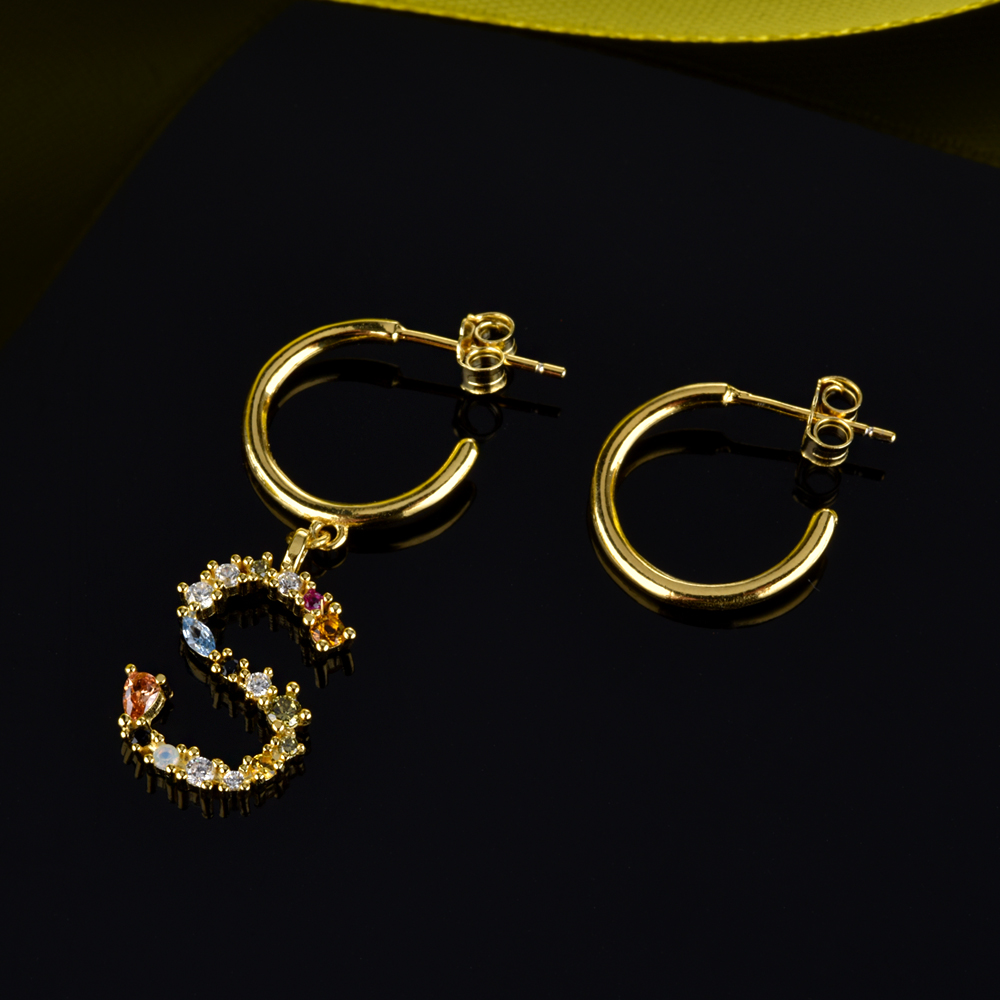 Image 3 - Andywen 925 prata esterlina cristal letra a m aros gota balançar brinco alfabeto k inicial e charme brincos feminino 2020 jóiasBrincos compridos   -