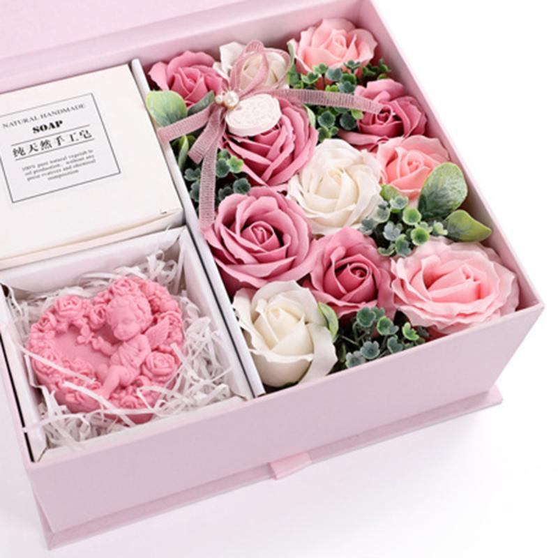 Scented Soap Elaborate Manufacture Prolonged Durable Artificial Creative Soap Flower Rose Gift Box Wedding Birthday Gift