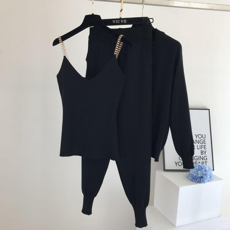 Amolapha Women 2020 Autumn Winter Knitted  Vest Zipper Cardigans Pants 3pcs Sets Tracksuits Outfits 3