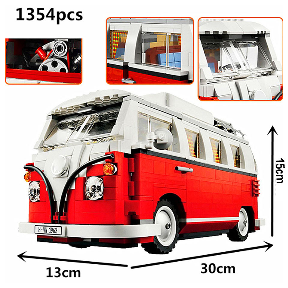 Technic Series 10220 1354pcs Technology Series Volkswagen T1 Camper Compatible Legoinglys Car Modeling Building Blocks Toys