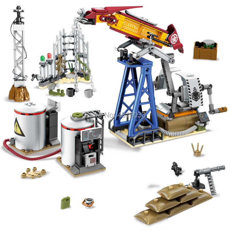 legoingly Military War Special Forces Fight at The Oil Drilling Base Army Soldier Weapon Gun Building Blocks Toys For children