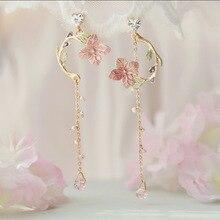 Copper plated 18K Gold Korean Pink Flower Leaves Pendant oil drop Earring Tassel Earrings for Women Drop Jewelry