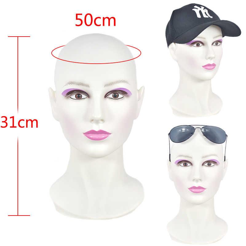 Cabeza de maniquí calva cabeza de maniquí femenina para hacer peluca sombrero mostrar cosmetología maniquí cabeza para práctica de maquillaje