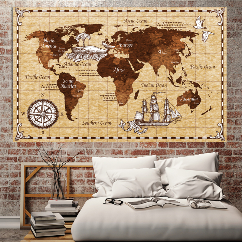 Retro Navigation World Map Poster Size Wall Decoration Large Map Of The World 200x126 Waterproof And Tear-resistant