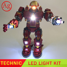 Led Light Kit Compatible DIY 76105 07101 Ironed DIY Man Hulkbuster Set Blocks Toys Constructor (Not Include The Blocks Set)(China)