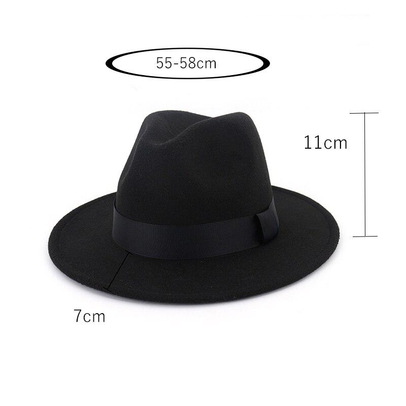 New Vintage Fedora Men Wool Wide Brim Top Hat Witner Autumn for Woman Chapeau Black Church Hat Bowler Ladies women's Jazz Hats 2