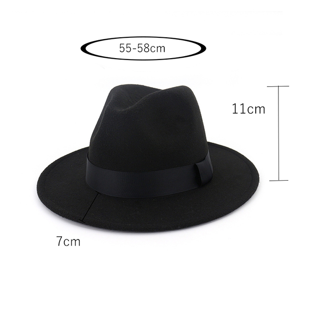 New Vintage Fedora Men Wool Wide Brim Top Hat Witner Autumn for Woman Chapeau Black Church Hat Bowler Ladies women's Jazz Hats 2