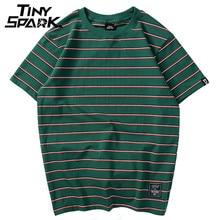 Harajuku Stripe T Shirt 2020 Men Casual T Shirt Short Sleeve Summer Hip Hop Tshirt Streetwear Casual Tops Tees Black White Green