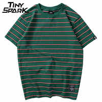 Harajuku tarja t camisa 2018 masculina casual camisa de manga curta verão hip hop tshirt streetwear casual topos t preto branco verde