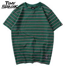 原宿ストライプtシャツ 2020 メンズカジュアルtシャツ半袖夏のヒップホップtシャツストリートカジュアルtシャツブラックホワイトトップスグリーン