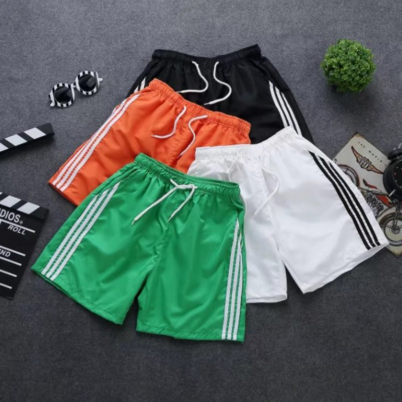 Summer Korean-style New Style MEN'S Shorts Solid Color Casual MEN'S Shorts Network Hot Selling Three-Bar Casual Pants