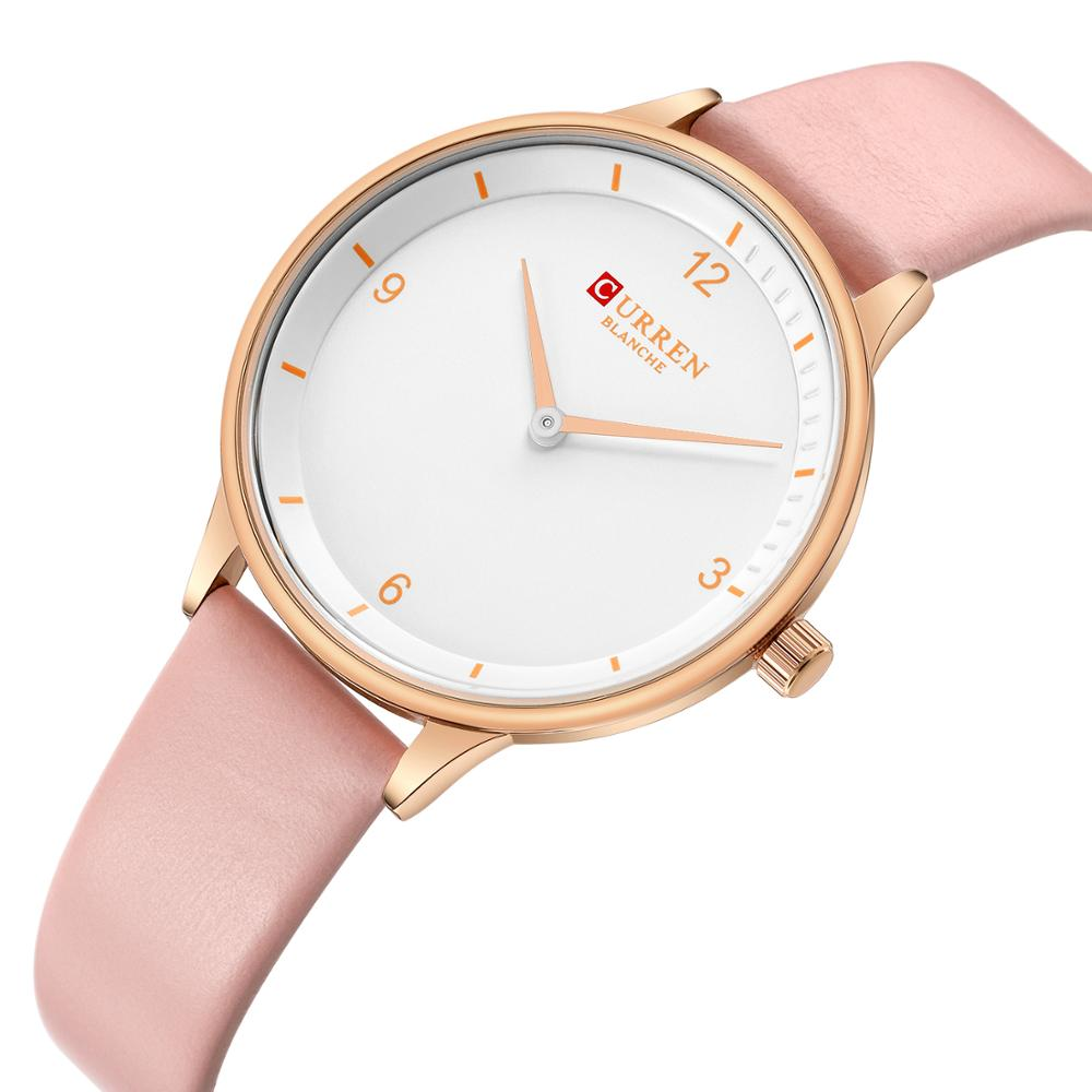 CURREN Wrist Watches For Women Top Brand Luxury Casual Watches Pink Leather Band Quartz Watch Hardlex Clock Ladies Waterproof in Women 39 s Watches from Watches