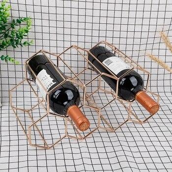 Modern Metal Honeycomb Wine Rack Wine Bottle Storage Beehive Tabletop Wine Rack Hexagon 9 Bottle Wine Holder Display недорого