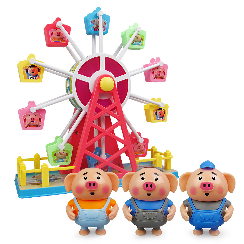 Electric Seagrass Pigskin Ferris Wheel Music Light Seagrass Pigskin Cartoon Paradise Ferris Wheel Parent And Child Interactive T