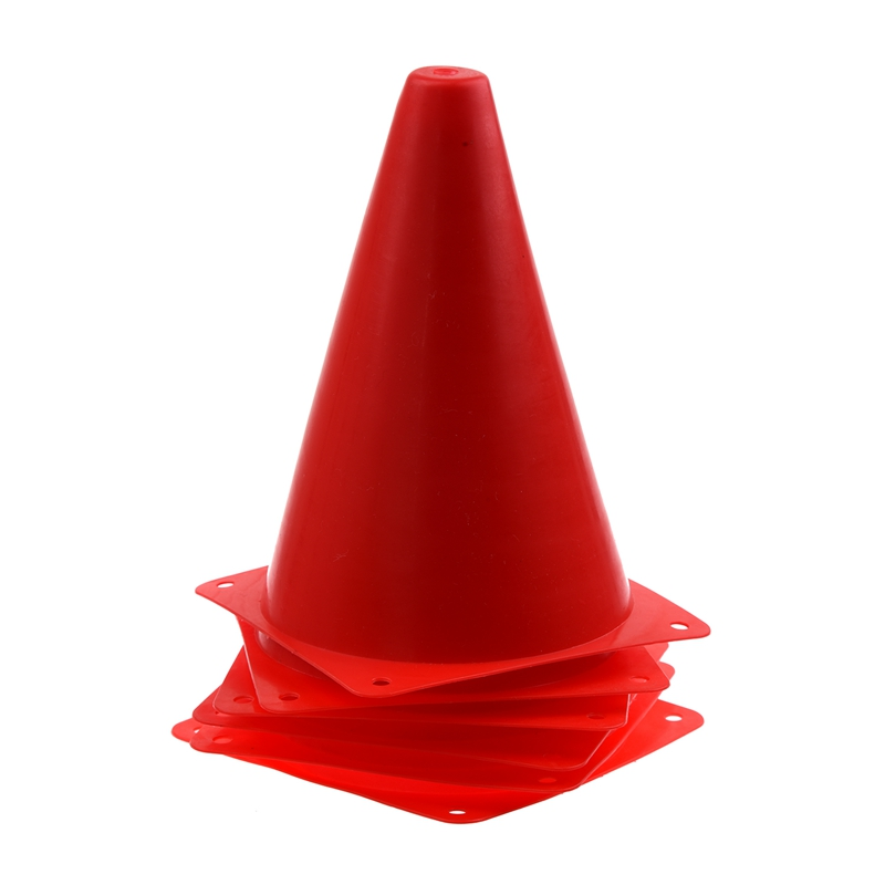 6 PCS Multi-function Safety Agility Cone For Football Soccer Sports Field Practice Drill Marking - Red