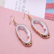 HOCOLE Korean Fashion Druzy Resin Earrings For Women Za 2019 Gold Stone Dangle Colorful Crystal Drop Earring Christmas