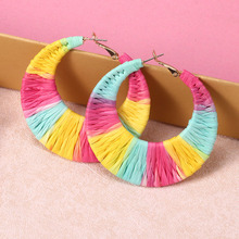 Fashion Rainbow Weave Earrings For Women Oversize Geometric Big Circle Raffia Rattan Hoop Earring Statement Bohemian Jewelry недорого