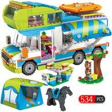01062, 534 piezas de la ciudad de salida Camper autobús, coche cifras construcción bloques Compatible Legoingly amigos ladrillos juguetes para niñas