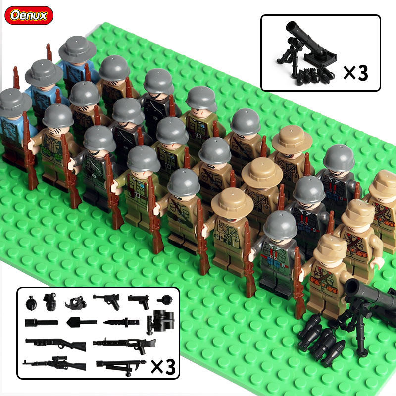 Oenux New 24pcs WW2 Military Mini US Franch Soviet Army Soldiers Figure With Baseplate Legoinglys Building Block Brick Kids Toy