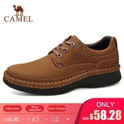 Camel inglaterra couro genuíno com cadarço masculino sapatos casuais costurados à mão de sola grossa calçados masculinos homem
