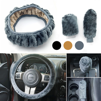 Car Steering Wheel Cover 3pcs Winter Universal Hand Brake Gear Position Gear Three-piece Fur Cover Car Interior Accessories image