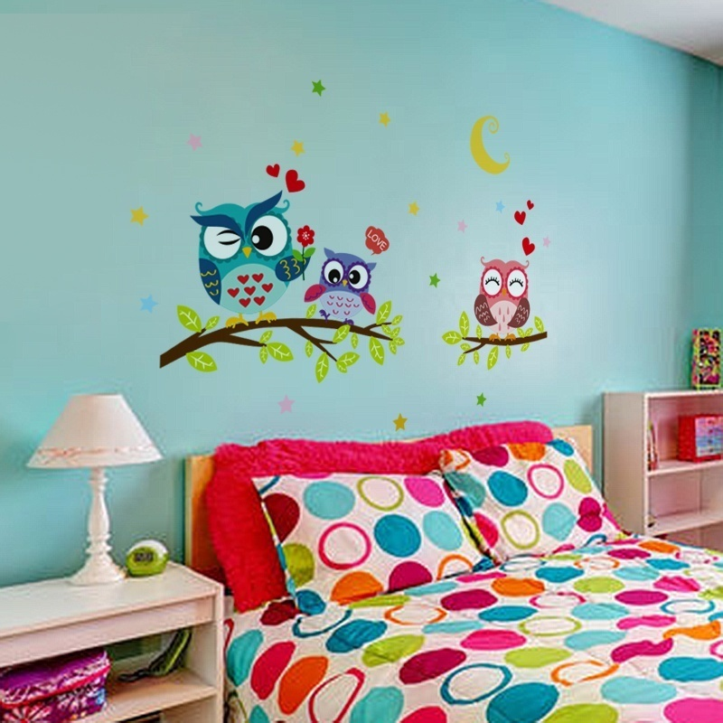Wallpaper Sticker Happy Removable Waterproof Cartoon Animal Owl Wall Sticker Kids Home Decor Wallpapers For Living Room 3